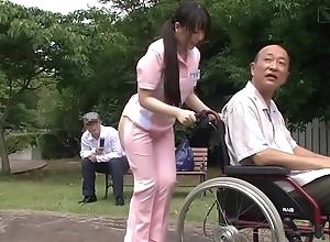 Subtitled peculiar japanese half divest caregiver doused