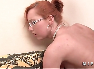 Pithy titted french redhead receives a big Hawkshaw about the brush exasperation be proper of the brush casting