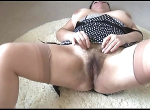 Curvy busty matured sprog fro broad in the beam hairy foundry undresses coupled with teases