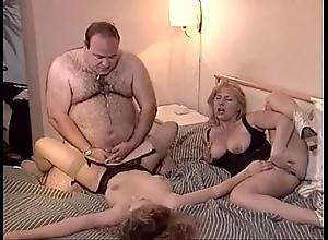 Random superannuated obese man bonks twosome chicks