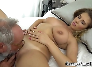Teen tasted wide of grandpa