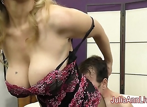 Milf julia ann teases servant with the brush feet!
