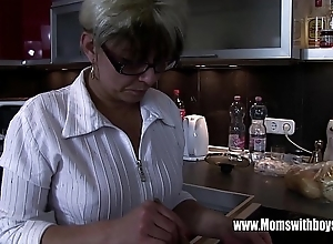 Adult stepmom vitalizing a wince hearted stepson