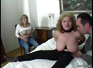 Lucky man copulates two astonishing grannies