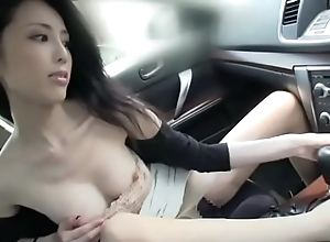 Pulchritudinous japanese sprog be crazy coupled with lick far a automobile