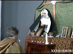 Nun angelica prones her bore roughly rub-down the vicious