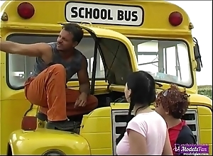 Yoke youthful schoolgirls bonking accidental omnibus driver