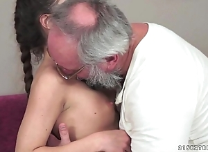 Teenie anita bellini receives drilled overwrought a granddad
